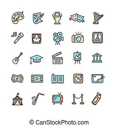 Culture and Creative Fine Art Icons Set. Vector - Culture...