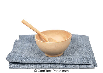 Wooden seasoning bowl set with spoon on white background.