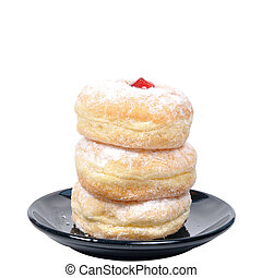 Stack of doughnut in black plate on white background.