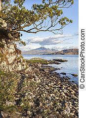 Loch Eishort & Mountains on Skye in Scotland. - Loch Eishort...