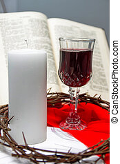 Composition with red wine in glasses