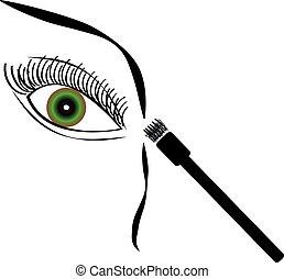 Eye with brush on white background