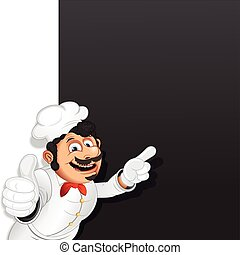Chef Cook with Menu Chalkboard. Vector Template