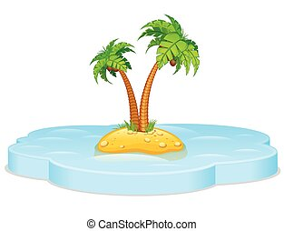 Tropical island. Vector - Tropical island with Palm. Vector...