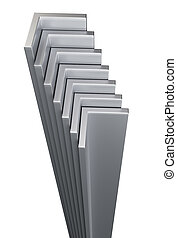 Rolled metal L-bar. Isolated on white background. 3D...