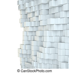 Wall of white cubes. 3D Illustration. White background. Web...