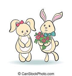 Cute lovely cartoon bunnies.