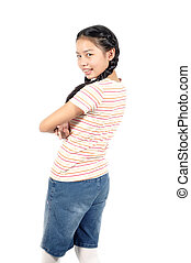 Asian girl 12 years old plait her hair and t-shirt with...
