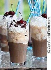 Root Beer Floats - Root beer floats with whipped cream,...