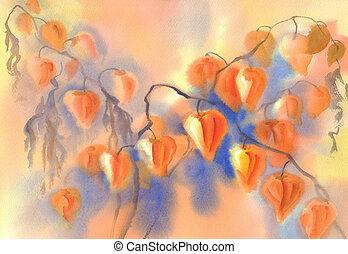 husk tomato watercolor - Husk tomato bouquet watercolor...