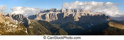 Evening view of Sella gruppe or gruppo di Sella with clouds...