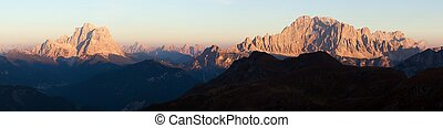 Evening panoramic view of mount Civetta and mount Pelmo,...