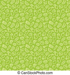 Vegetables and fruits outline icons pattern seamless