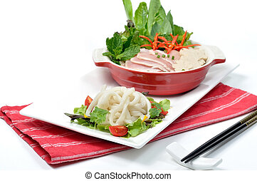 PHO, Vietnamese noodle set, lay on red napkin white strips