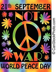 World peace day, 21th September, colorful rainbow flyer...