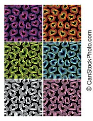 Set of seamless patterns with colorful heart shapes in...