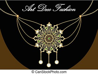 Gold necklace with pendant decorated with pearl and green emeralds on fine golden chain, elegant vintage jewel in art deco style