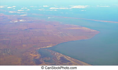 Flying over the Crimea - Aerial flight over the peninsula...