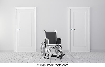 Wheelchair in room with two closed door