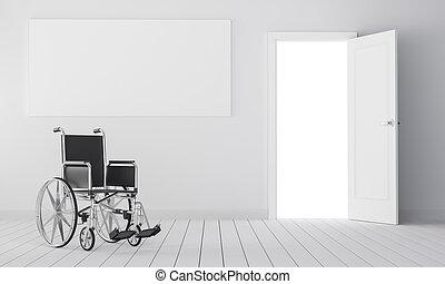 Wheelchair in room with open door