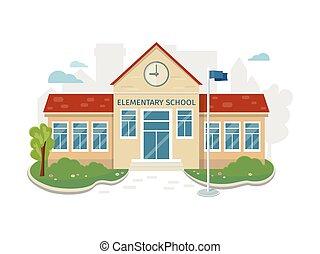Best School Building Vector in Flat Style Design - Best...