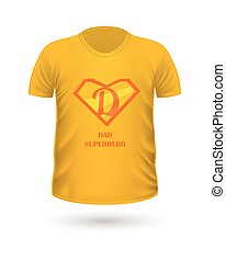 Dad Superhero T-shirt Front View Isolated. Vector