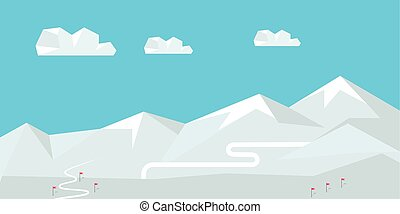 Winter Landscape with Snow Covered Mountains - Winter...