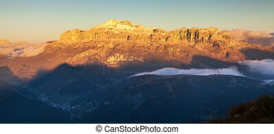 Evening view of Sella gruppe, Alps Dolomites Mountains,...