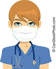 White Male Nurse - Young white male nurse wearing surgical...