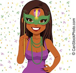 Mardi Gras Woman - Beautiful young African American woman...