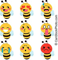 Cute Bee emoji - Set of cute bee mascot emoji different face...