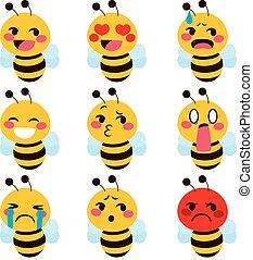 Cute Bee emoji - Set of cute bee mascot emoji different face...