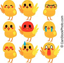 Cute Chick Emoji Expressions - Set collection of cute...