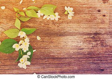 Jasmine flowers on wooden table - Jasmine fresh flowers and...