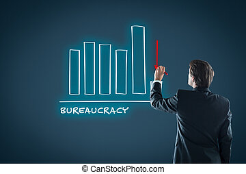 Bureaucracy reduction concept. Businessman draw graph with...