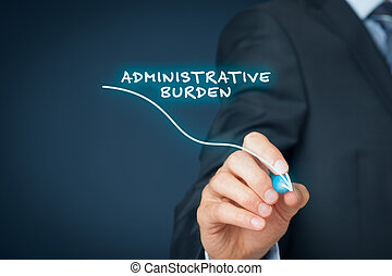 Administrative burden reduction concept. Businessman draw...