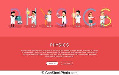 Ciencia, física, alfabeto, bandera