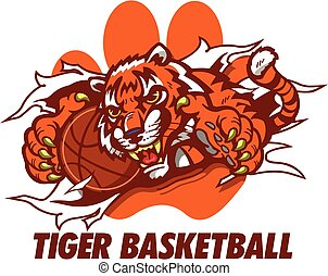 tiger basketball mascot ripping through paw print for...
