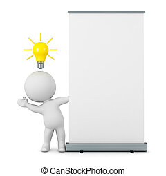 3D Character with Light Bulb Idea and Roll Up Poster - A 3D...