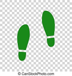 Imprint soles shoes sign. Dark green icon on transparent...