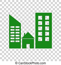 Real estate sign. Dark green icon on transparent background.