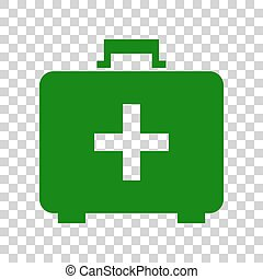 Medical First aid box sign. Dark green icon on transparent background.
