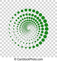Abstract technology circles sign. Dark green icon on transparent background.
