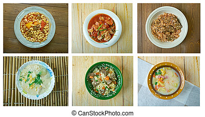 Food set American cuisine.collage