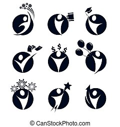 Isolated round shape black color abstract human body silhouette logos set, business,education, holiday party symbols vector illustrations on white background.