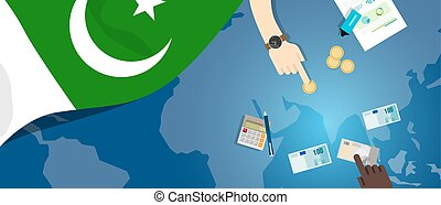 Pakistan fiscal money trade concept illustration of...