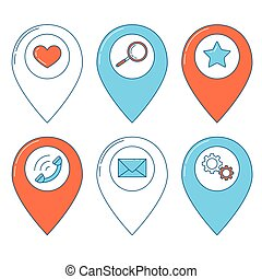 Map pin line design, gps icon set, you are here notification...