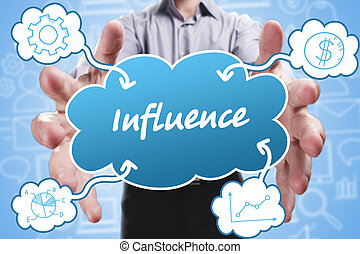Business, Technology, Internet and marketing. Young businessman thinking about: Influence
