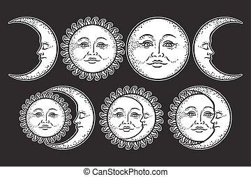 Boho chic flash tattoo design hand drawn art sun and...