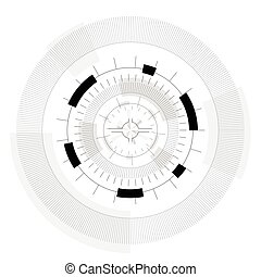 Abstract round sight-tech space weapons with circles. Subtle mechanical gears.